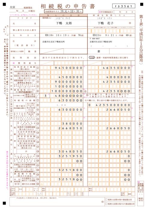 相続税の申告書第1表
