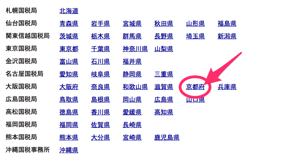リストから京都府を選択