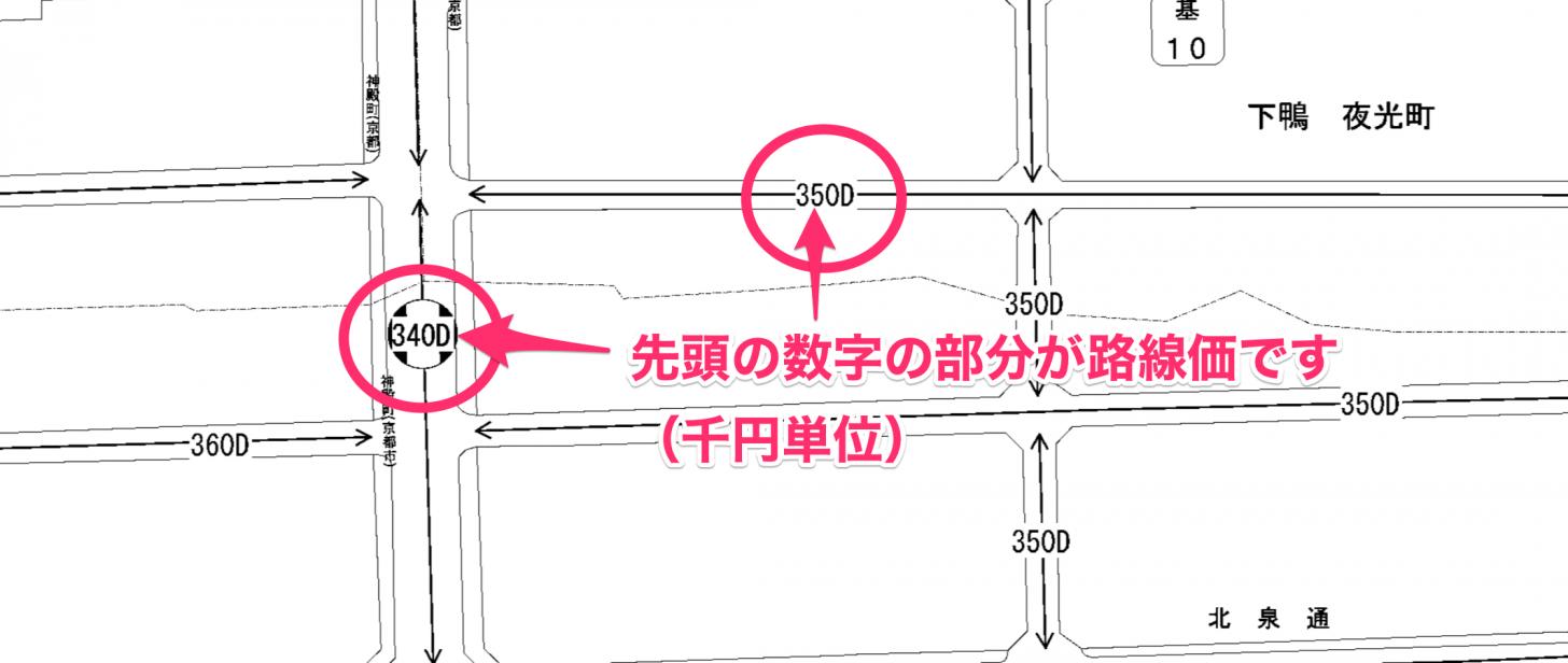 アタマの数字が路線価(千円単位)