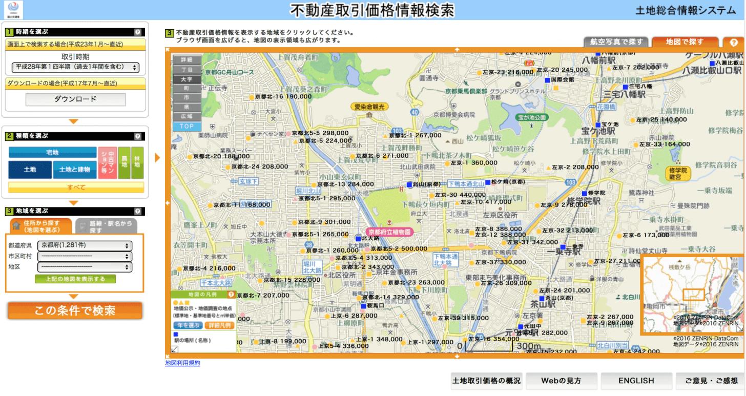 国土交通省の「標準地・基準地検索システム」