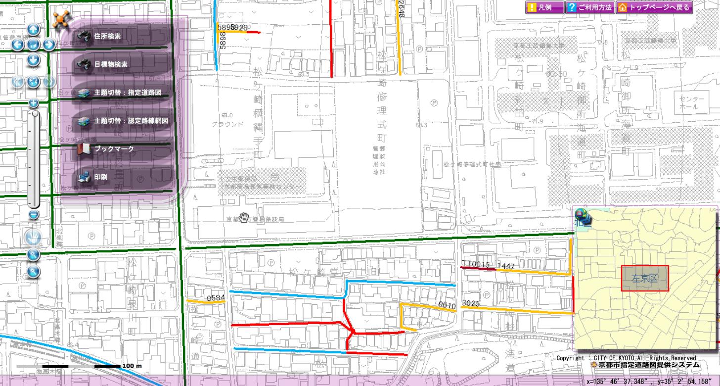 左京区役所周辺の指定道路図