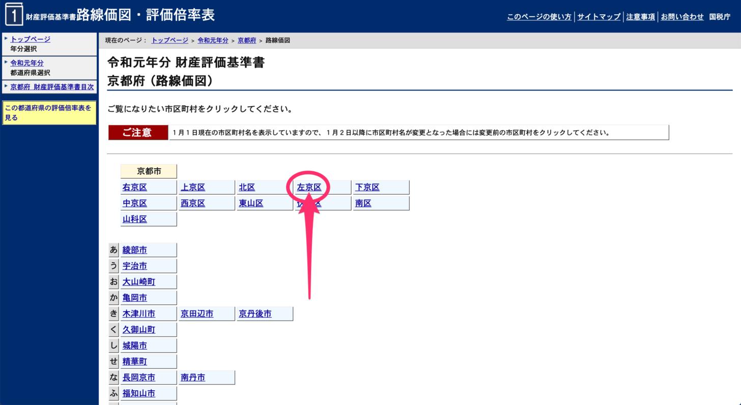 市区町村のリストから「京都市左京区」をクリック
