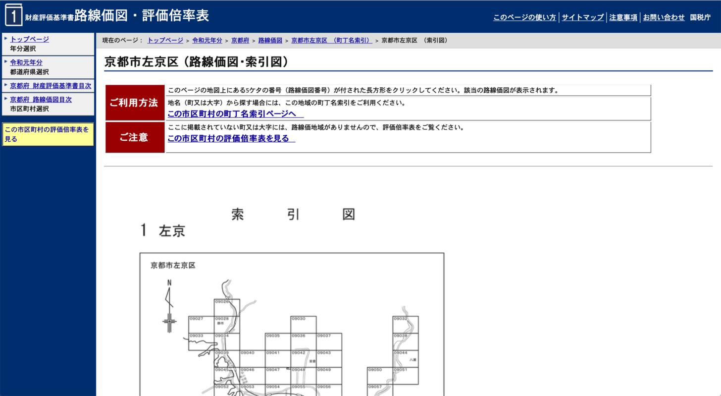 路線価図 索引図のページ