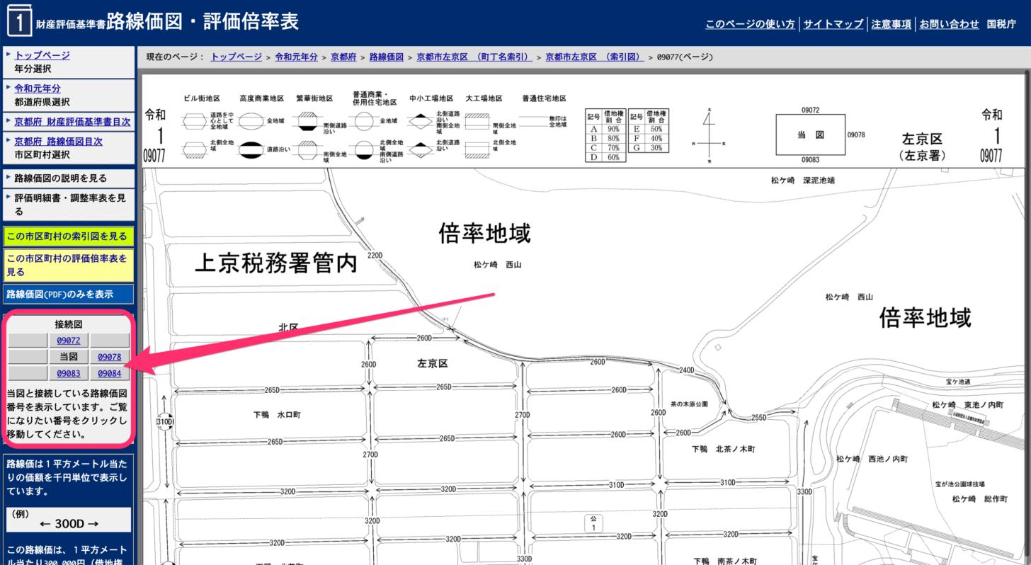 左フレーム内の「接続図」から目的の路線価図を探す