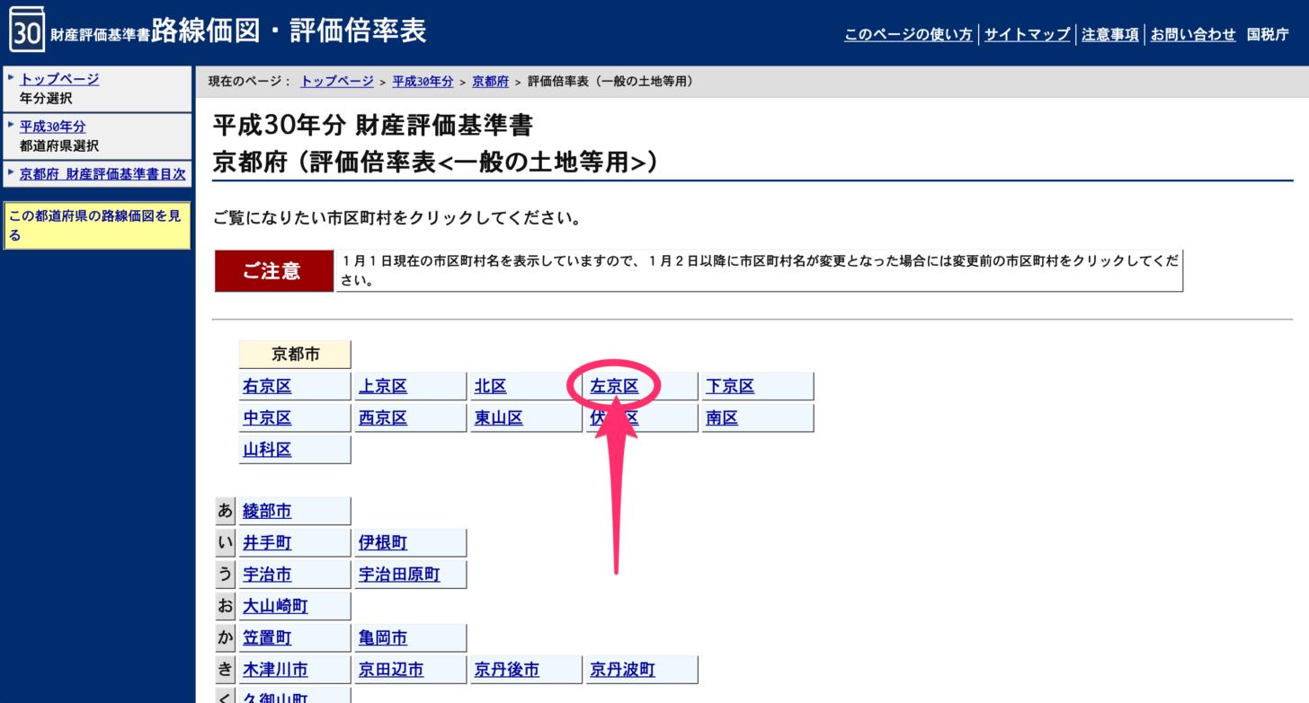 左京区を選択