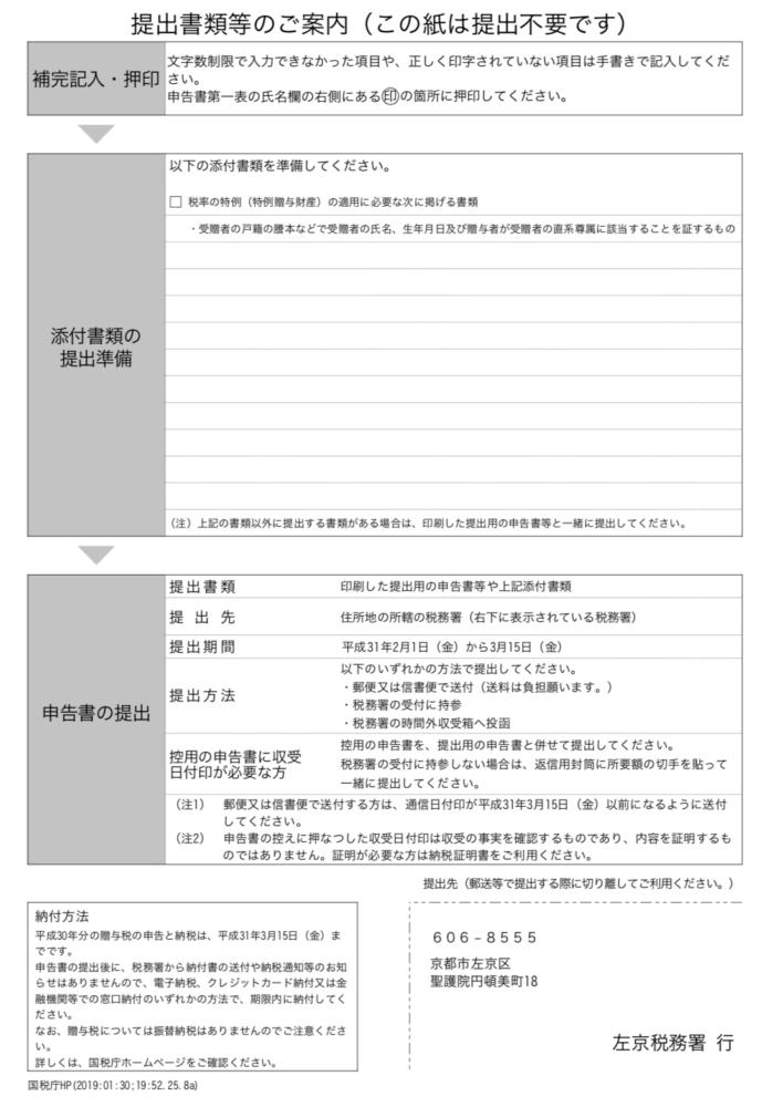 贈与税申告書の添付書類