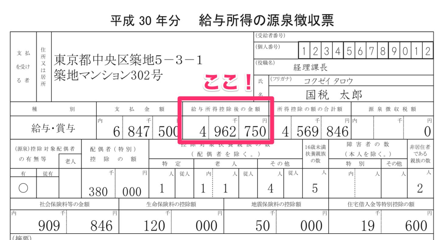 源泉徴収票の「給与所得控除後の金額」欄を見る