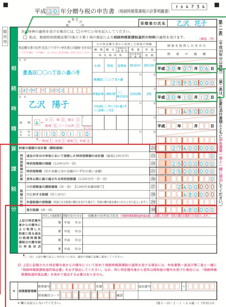 贈与税の申告書第二表記入例