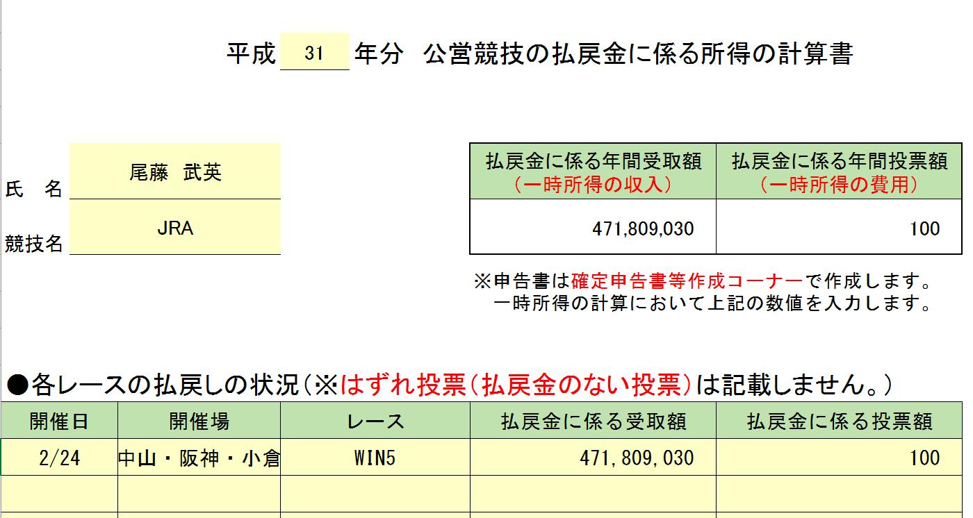 「公営競技の払戻金に係る所得の計算書」に入力した状態