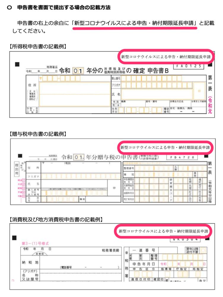 申告書の右上の余白に「新型コロナウイルスによる申告・納付期限延⻑申請」と記載
