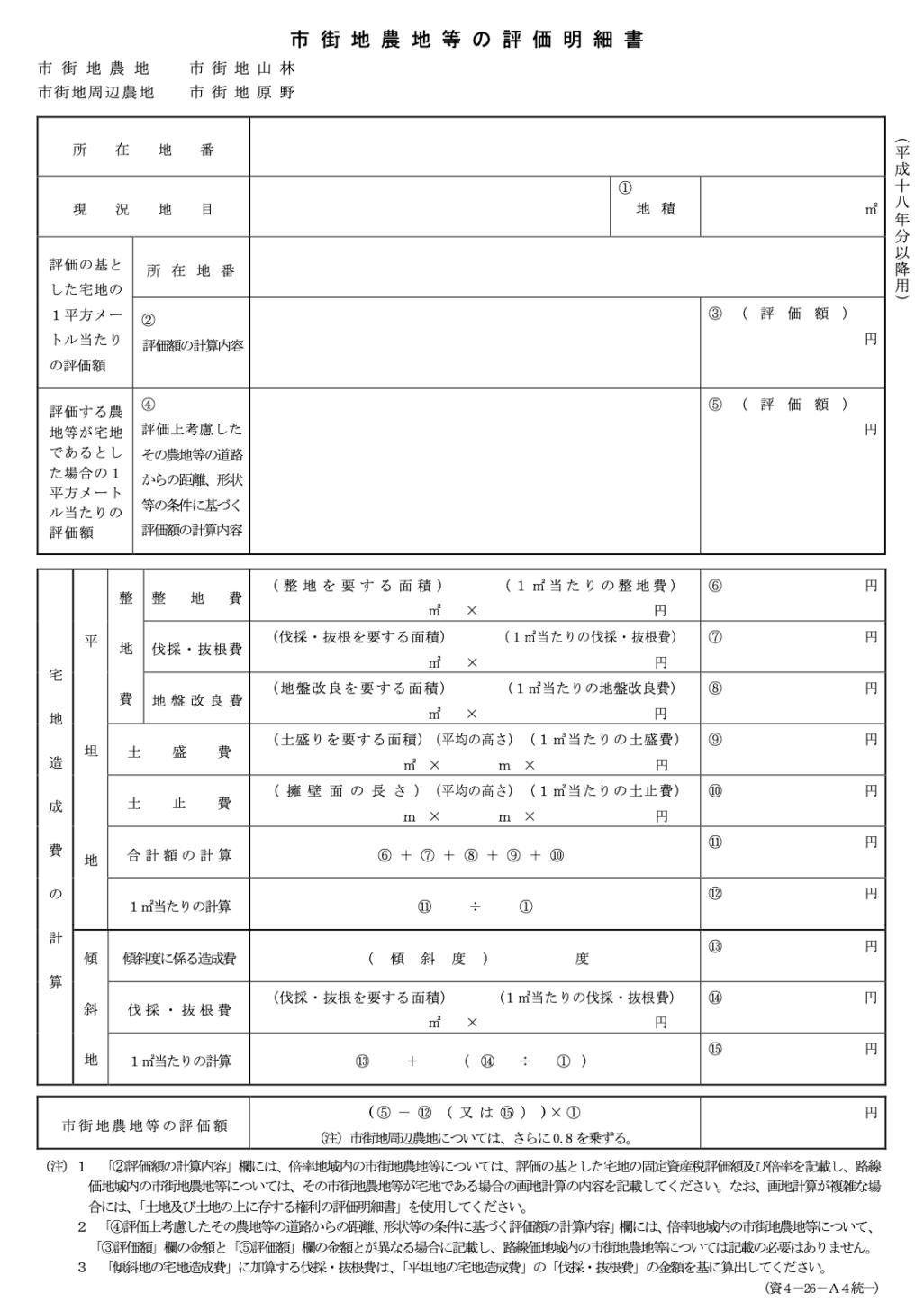 市街地農地等の評価明細書
