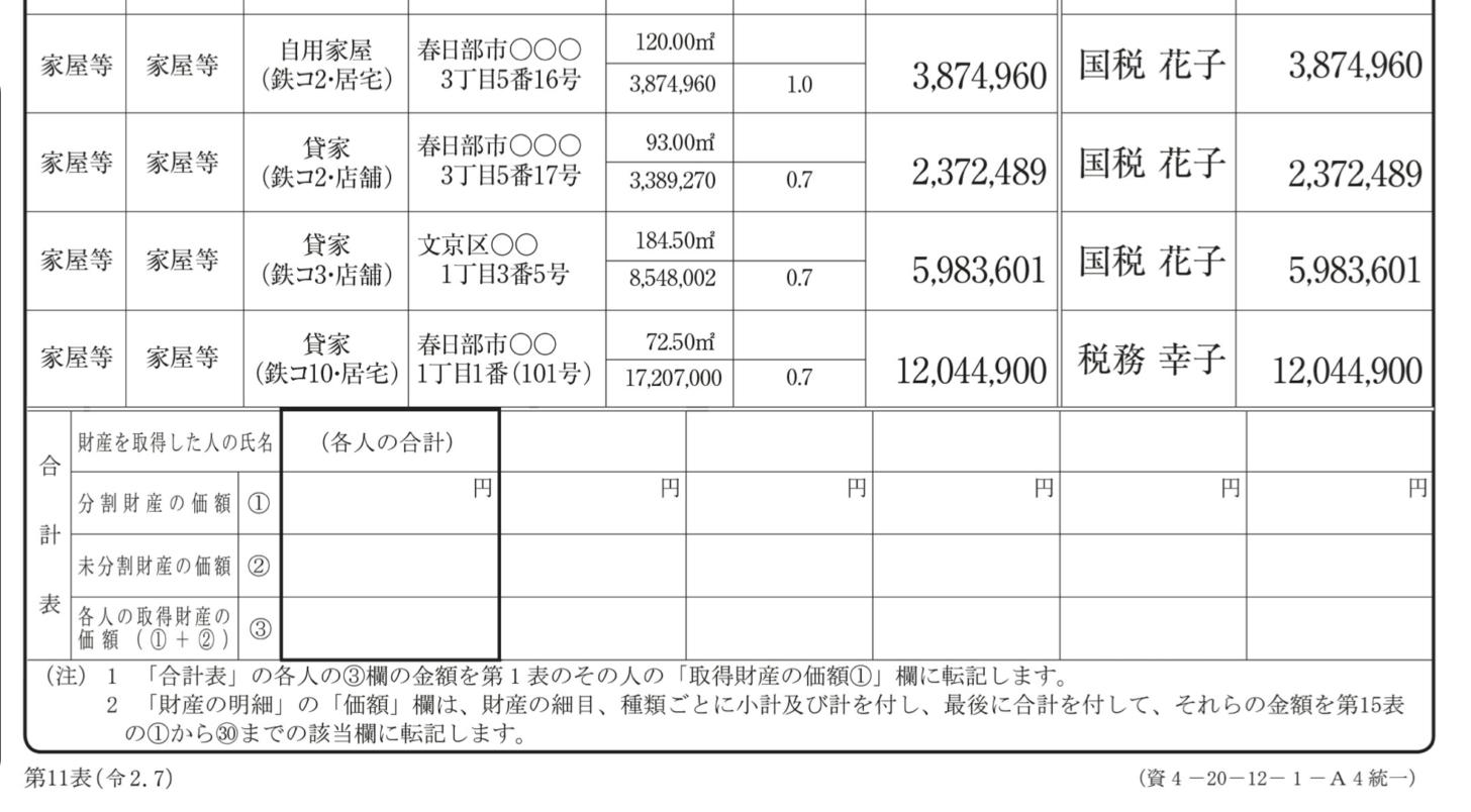「相続税の申告のしかた」に記載されている第11表の記入例